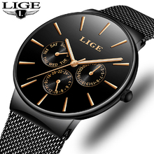 Mens นาฬิกา LIGE Luxury กันน้ำ Ultra Thin นาฬิกาวันที่สายคล้องคอผู้ชาย Casual Quartz นาฬิกาผู้ชายกีฬานาฬิกาข้อมือนาฬิกา