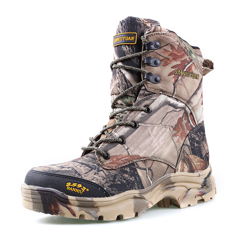 Men hiking ankle desert combat camping boots jungle camouflage winter snow boots waterproof outdoor hunting shoes fishing