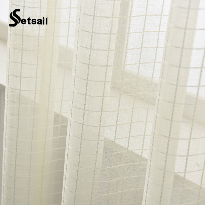 Setsail Beige Curtain 1 Pc Plaid Curtains For Living Room Free Shipping Tulle Of Window Bedroom