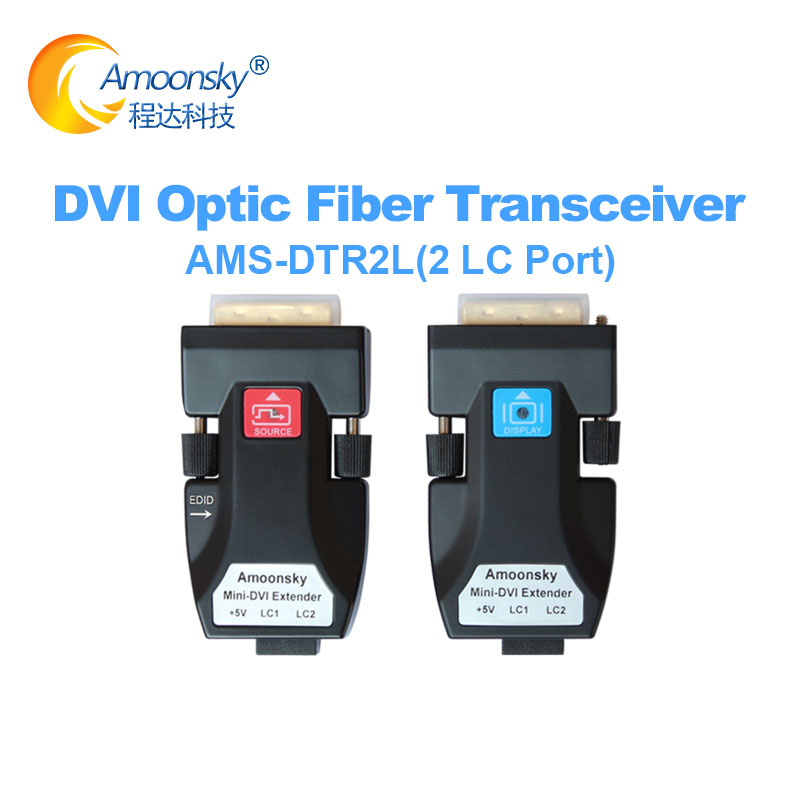 HD Video Display DVI Fiber Optic Transmitter And Receiver DTR2L Support Single Mode And Multi Mode Fiber For Advertising Screen