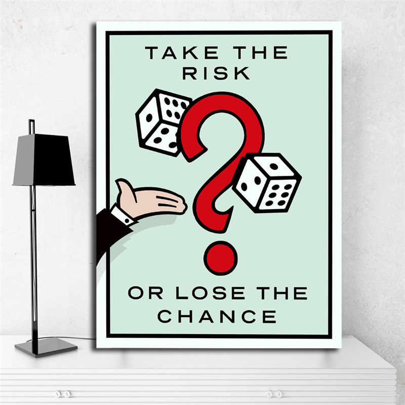 Take The Risk Or Lose The Chance Monopolyingly Wall Art Canvas Posters Prints Painting Wall Pictures For Bedroom Home Decoration