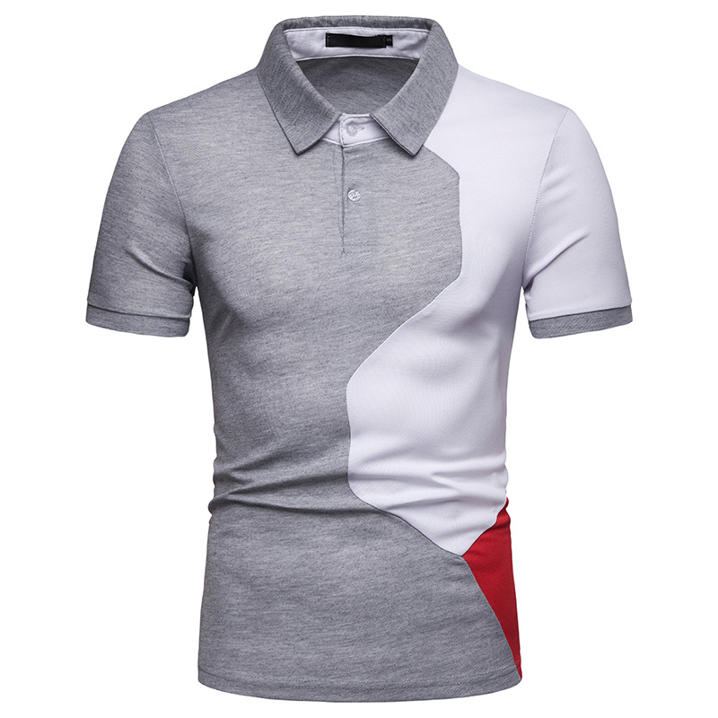 2019 New Summer   Polo   Shirt Men Casual Patchwork Short Sleeve   Polos   Men Slim Fit   Polo