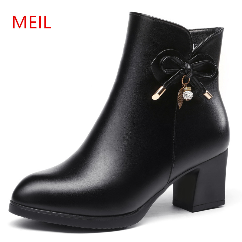 MEIL genuine Leather boots women shoes ankle boots 20178 new spring women boots high heels winter warm snow boots large size serene handmade winter warm socks boots fashion british style leather retro tooling ankle men shoes size38 44 snow male footwear
