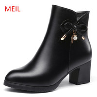 MEIL Genuine Leather Boots Women Shoes Ankle Boots 20178 New Spring Women Boots High Heels Winter