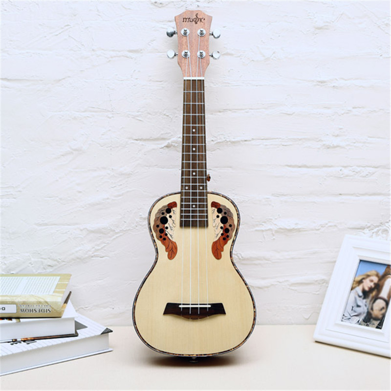 ФОТО 23/26 Inch Natural Color Grape Hole Spruce Wood Ukulele 4 strings Rosewood fretboard Ukulele Small Guitar Musical Instruments