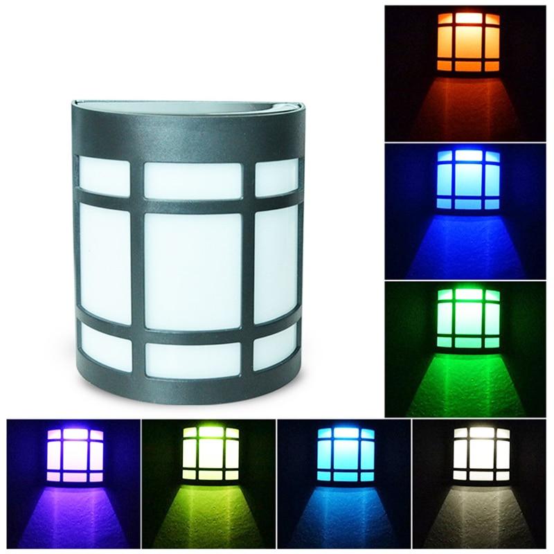 Solar Wall Lights Solar Garden Lights Villa Decorative Lights Colorful Discoloration Fixed Color Lamp For Home Decor Drop Ship