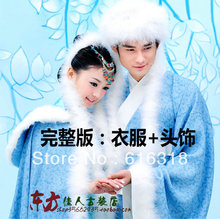 Free Shipping Costume Winter Lovers' Blue Clothing Set (He's Gown, Belt, Hat + She's Fur Cloak,Inner Dress, Necklace)