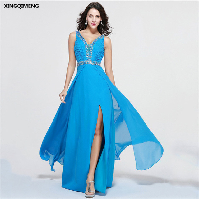 Blue Y Beach Evening Dress Beaded Elegant Dresses Long Chiffon Split Formal Party Gown