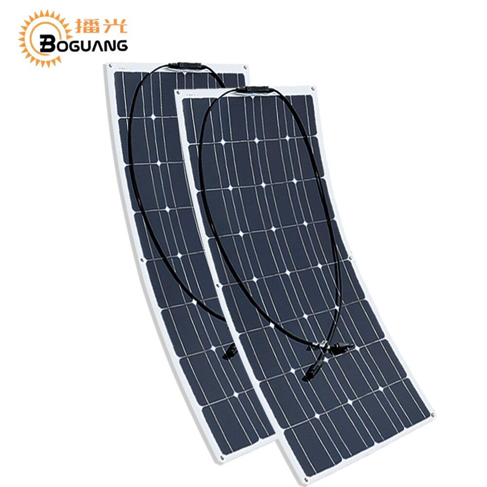 Boguang 2 pces 100w painel solar semi flexível 200 w placa monovoltaica solar 12v 24 v bateria/iate/rv/carro/barco rv