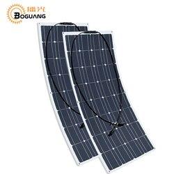 Boguang 2 pcs 100w Zonnepaneel semi flexibele 200W placa fotovoltaïsche monoctrystalline 12v 24V batterij jacht/RV/auto/boot RV
