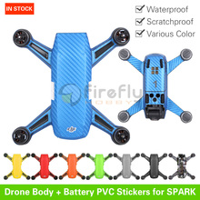 Drone Physique & Battery Stickers Waterproof PVC Carbon Graphic Decals Camouflage Pores and skin for DJI SPARK