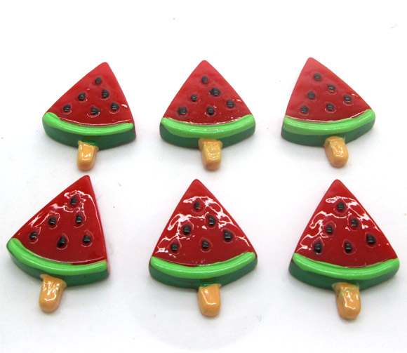 20Pcs Resin Watermelon Decoration Crafts Flatback Cabochon Scrapbooking Fit Hair Clips Embellishments Beads Diy