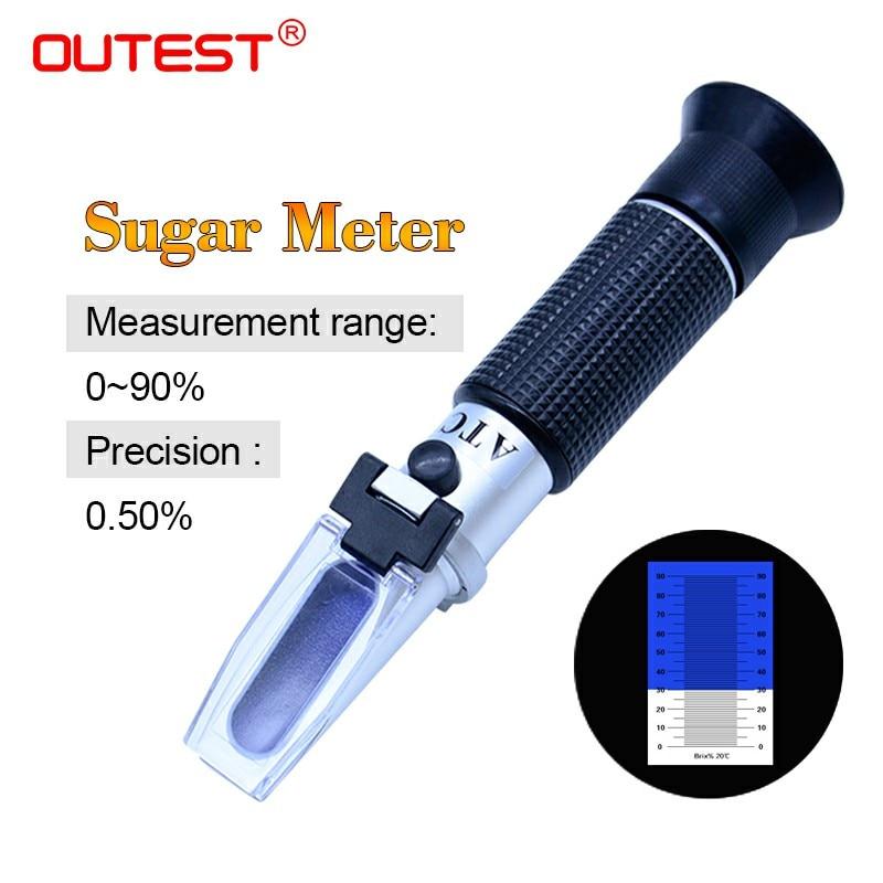 OUTEST Réfractomètre Brix Mètres Sucre Mètre ATC Mesure Outil Refratometro RZ116 Sucre 0-90% Pour Sirop Sucre Jus Alimentaire