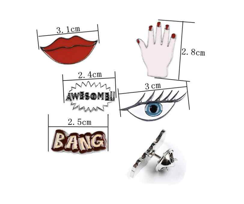SMJEL Mode Red Lip Eye Epoxy Surat Bang Mengagumkan Logam Bros untuk Wanita Lucu Enamel Kerah Pin Perhiasan Aksesoris Hadiah