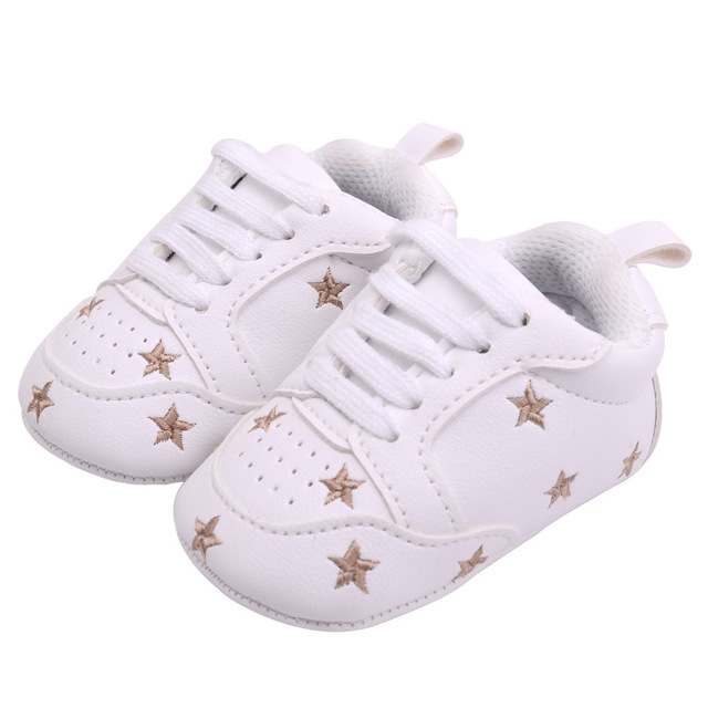 2019 Baby Shoes Newborn Boys Girls Heart Star Pattern First Walkers Kids Toddlers Lace Up PU Sneakers 0-18 Months 4