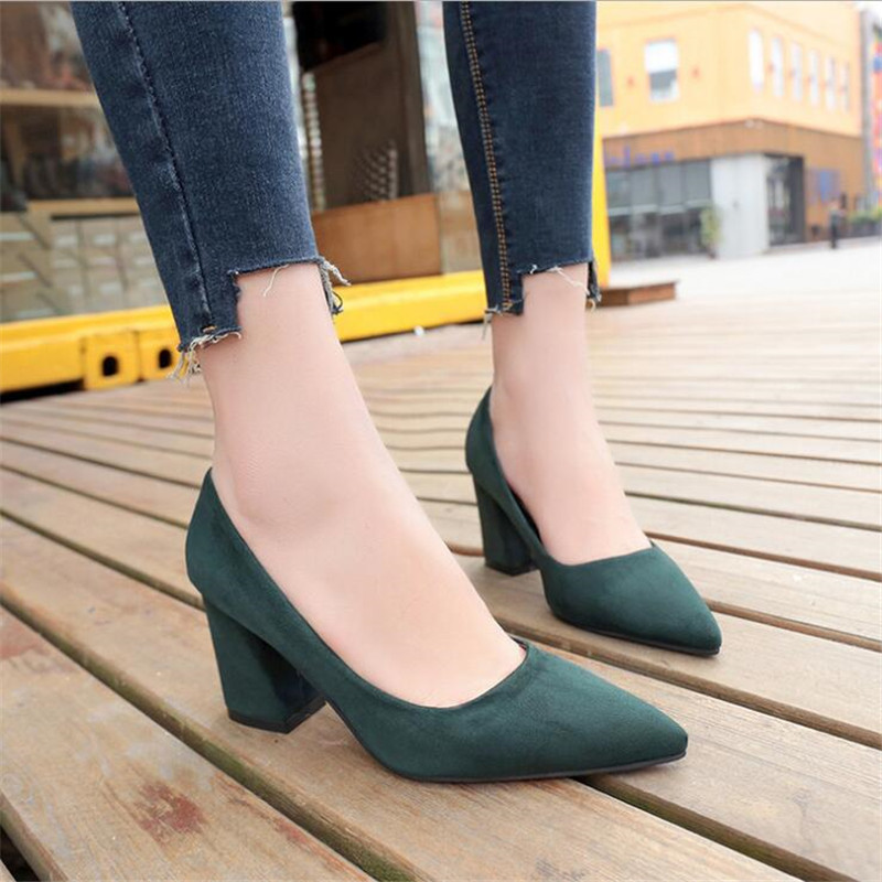 2019 vert Femmes Talons Confortables Nouveau En Épais Chaussures Printemps Simple Profonde kaki Foncé Professionnelles Beige noir Hauts jaune Peu Daim Sauvage Bouche À rose De rRaFrt
