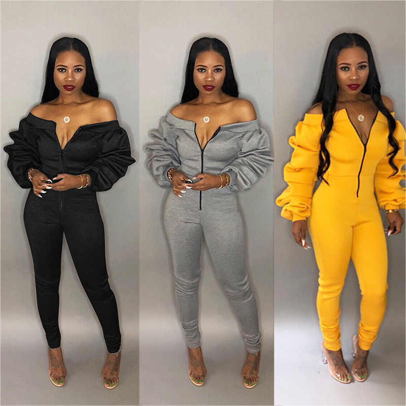 Women Longsleeve Jumpsuit Elegant Lantern Sleeve Front Zip Female Romper Sexy Outfits Off Shoulder Party Club Plus Size XXL XXXL