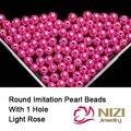 Pérolas de imitação Hetero Buraco Contas de Resina Para Fazer Jóias 6mm 8mm 10mm Light Rose Cor Gems DIY artesanato Enfeites