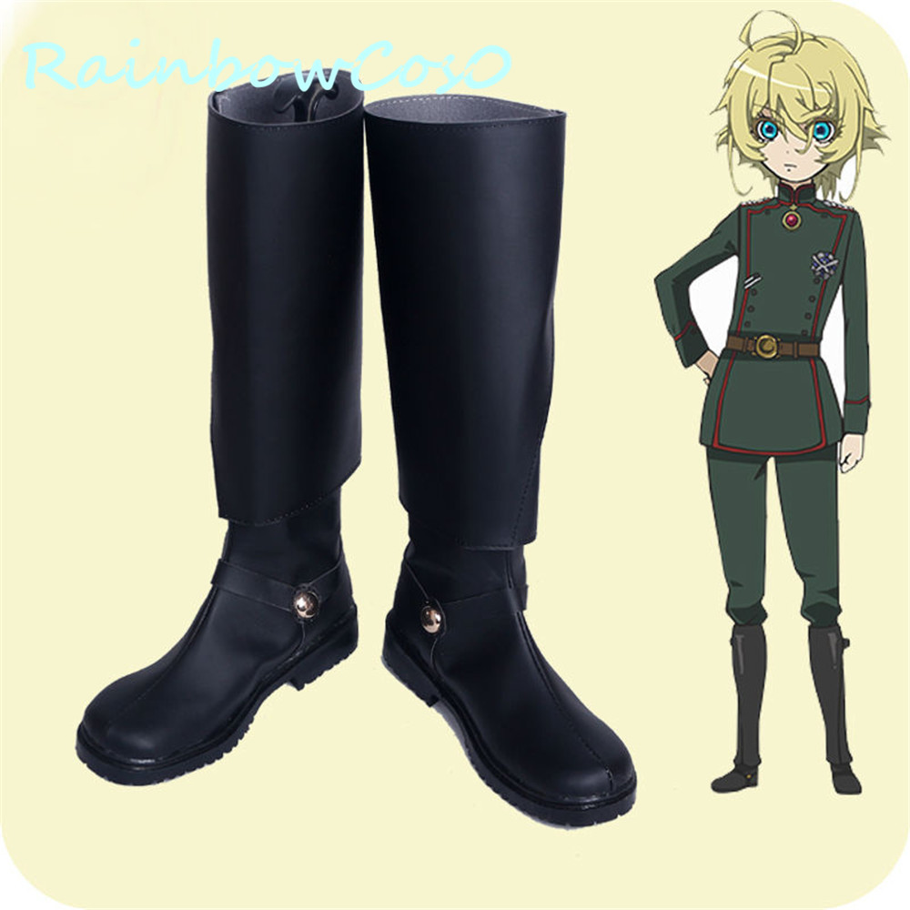 RainbowCos0 Free Shipping Cosplay Shoes The Saga of Tanya the Evil Tanya Von Degurechaff Boots Props Game Anime Halloween