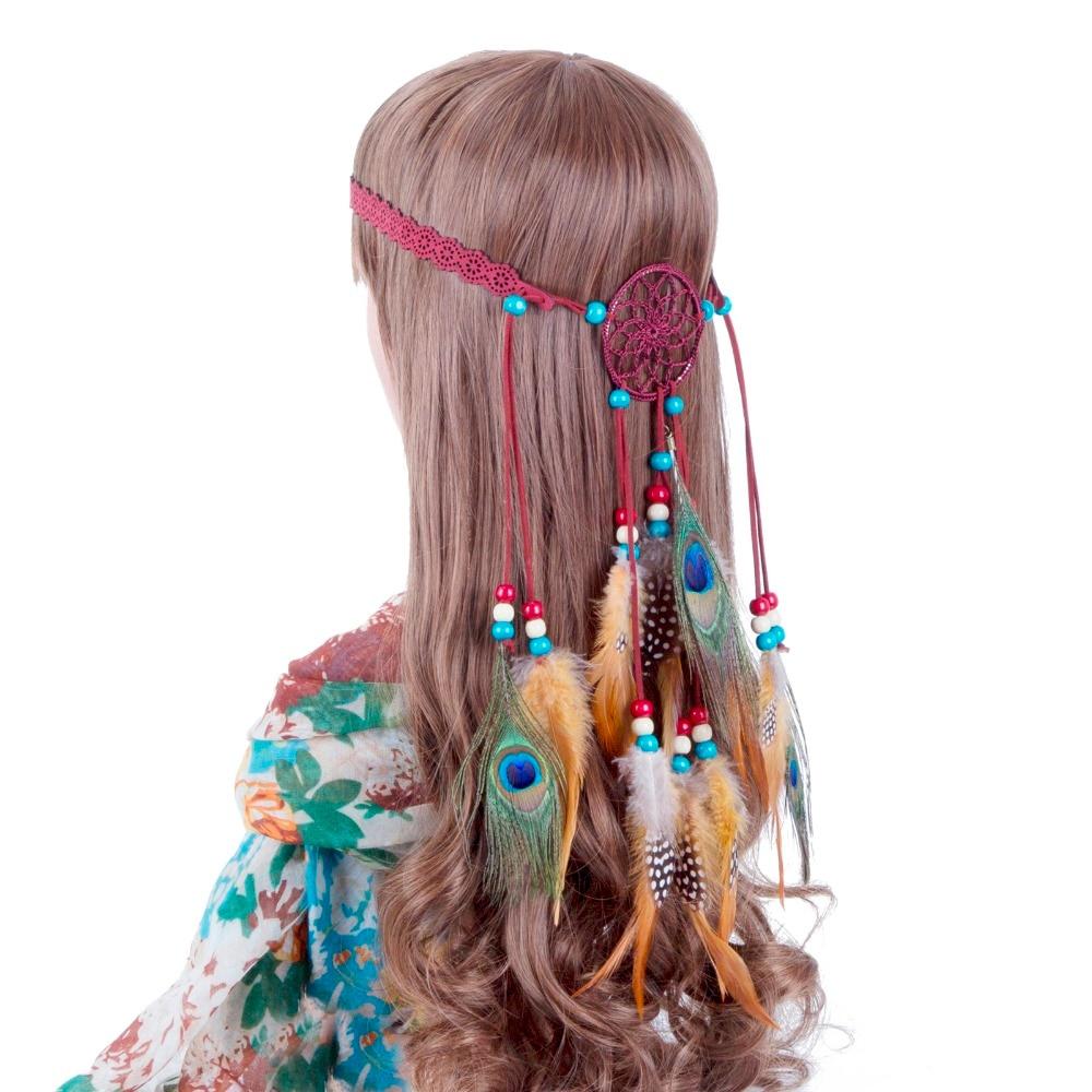 US $4 74 5% OFF|Feather Head Band AWAYTR Halloween Dream Catcher Feather  Headband Women Halloween Festival Indian Peacock Beads Headdress-in Women's