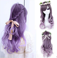 hot sell new - Lolita Women's Girls New Long Curly Wavy Hair Full Wigs Anime Purple Ombre Wig
