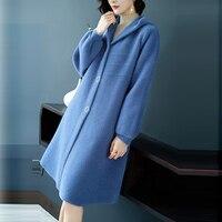 Новые осенние пальто из искусственного меха Для женщин зимние плотные теплые длинные с капюшоном свободные искусственного меха куртки жен...