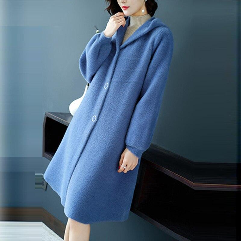 Nouveau automne fausse fourrure manteaux femmes hiver épaissir chaud Long à capuche lâche fausse fourrure vestes femme lâche cachemire vestes FP1435