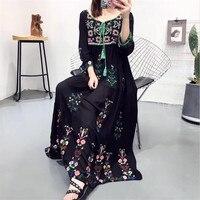 Europe 2019 Summer Boho Dress Ethnic Sexy Embroidery Retro Vintage Dress Tassel Beach Dress Bohemian Robe Vestidos Black White