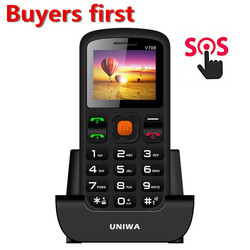 2018 Uniwa V708 Charging Cradle Senior Kids Feature Keypad Mobile Phone Push Big SOS Large Button Key Dual SIM Cards Cellphone
