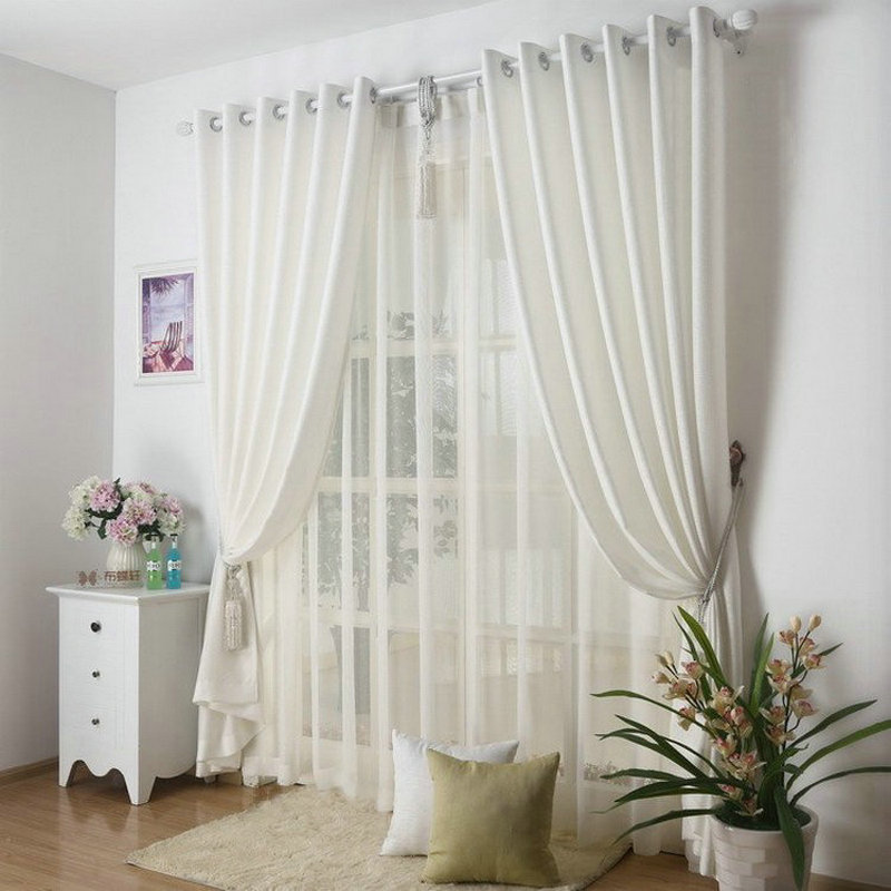 Kitchen Curtains Solid Color Drapes For Kitchen Plain Curtain+Voile 9  Colors Grey/Burgundy/Yellow/Violet/White Shade/Drapery In Curtains From  Home U0026 Garden ...