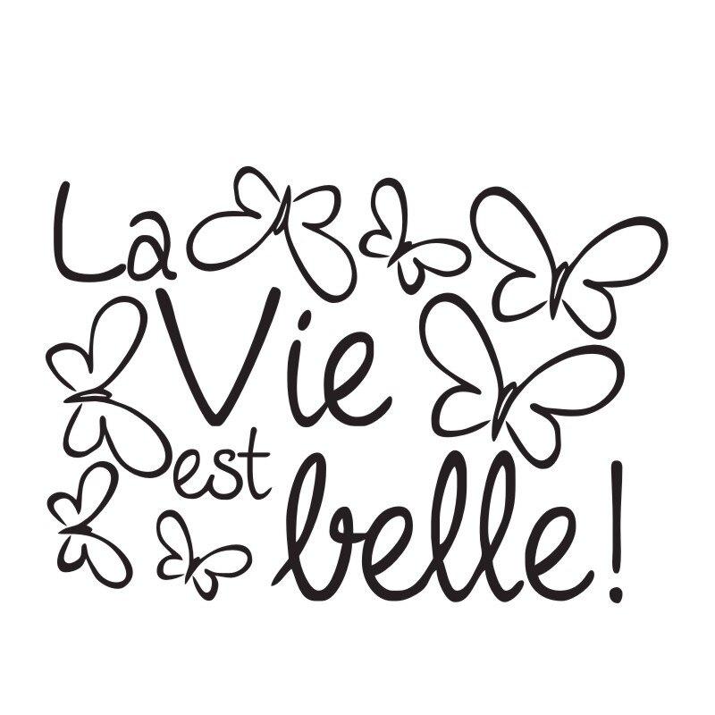 La Vida Es Hermosa Frase Francesa Pegatinas De Pared