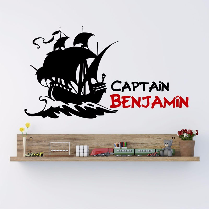 Nom Personnalise Autocollants Personnalises Pirate Capitaine Pirate Bateau Stickers Muraux Decor A La Maison Vinyle Amovible Stickers Muraux Aliexpress