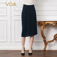 VOA Heavy Silk Plus Size 5XL Office Pencil Skirt Women Brief Solid Navy Blue Midi Skirts Slant Pocket Casual Cool Summer C108