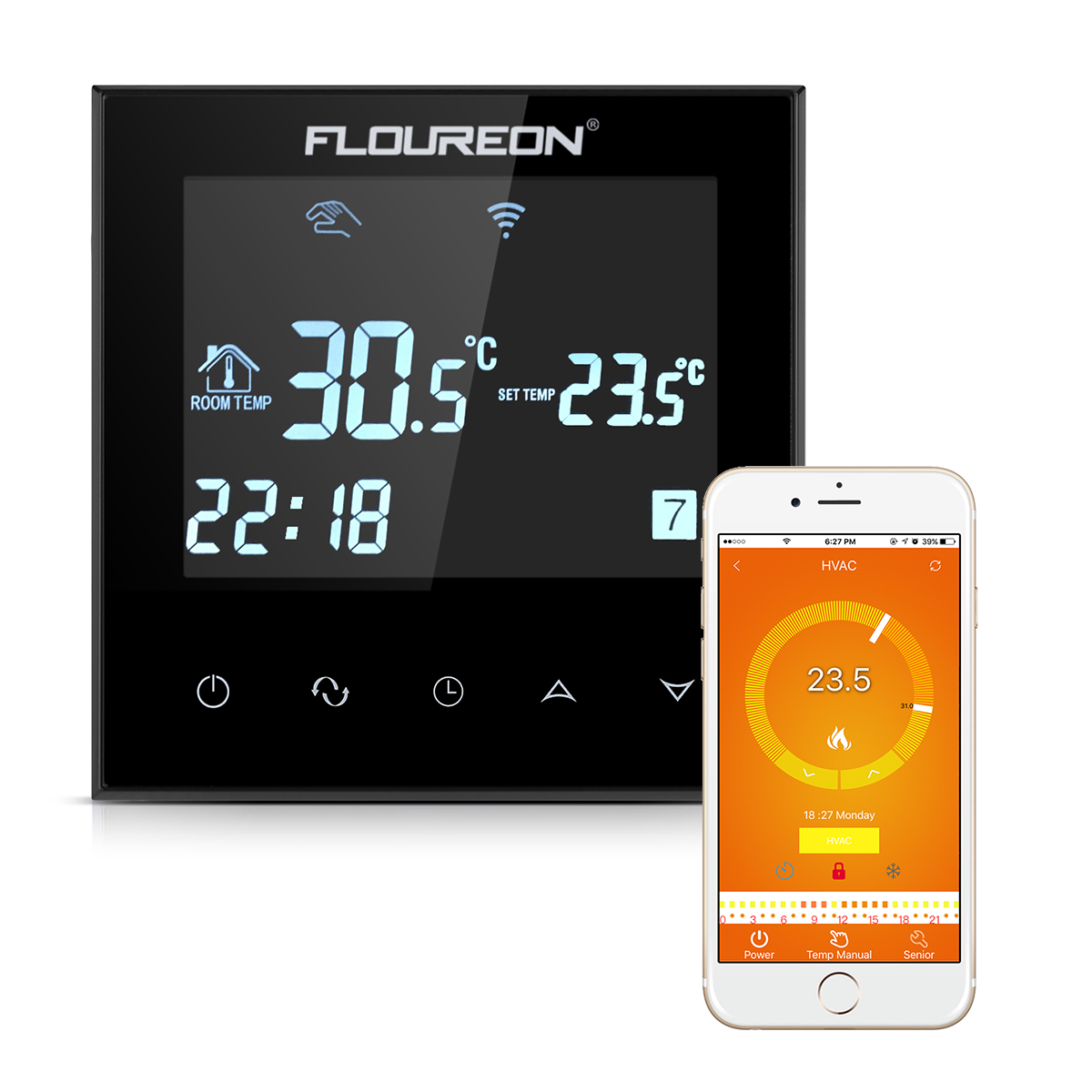 FLOUREON elettrico riscaldamento Termostato Regolatore di Temperatura LCD HY08WE-3 GOLD