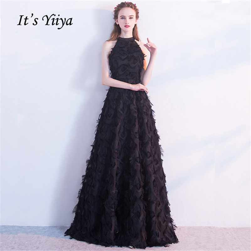 It's YiiYa Evening Dress Black Halter Collar Sexy Sleeveless Elegant A-line Dinner Party Frocks Dress Floor Length YS007