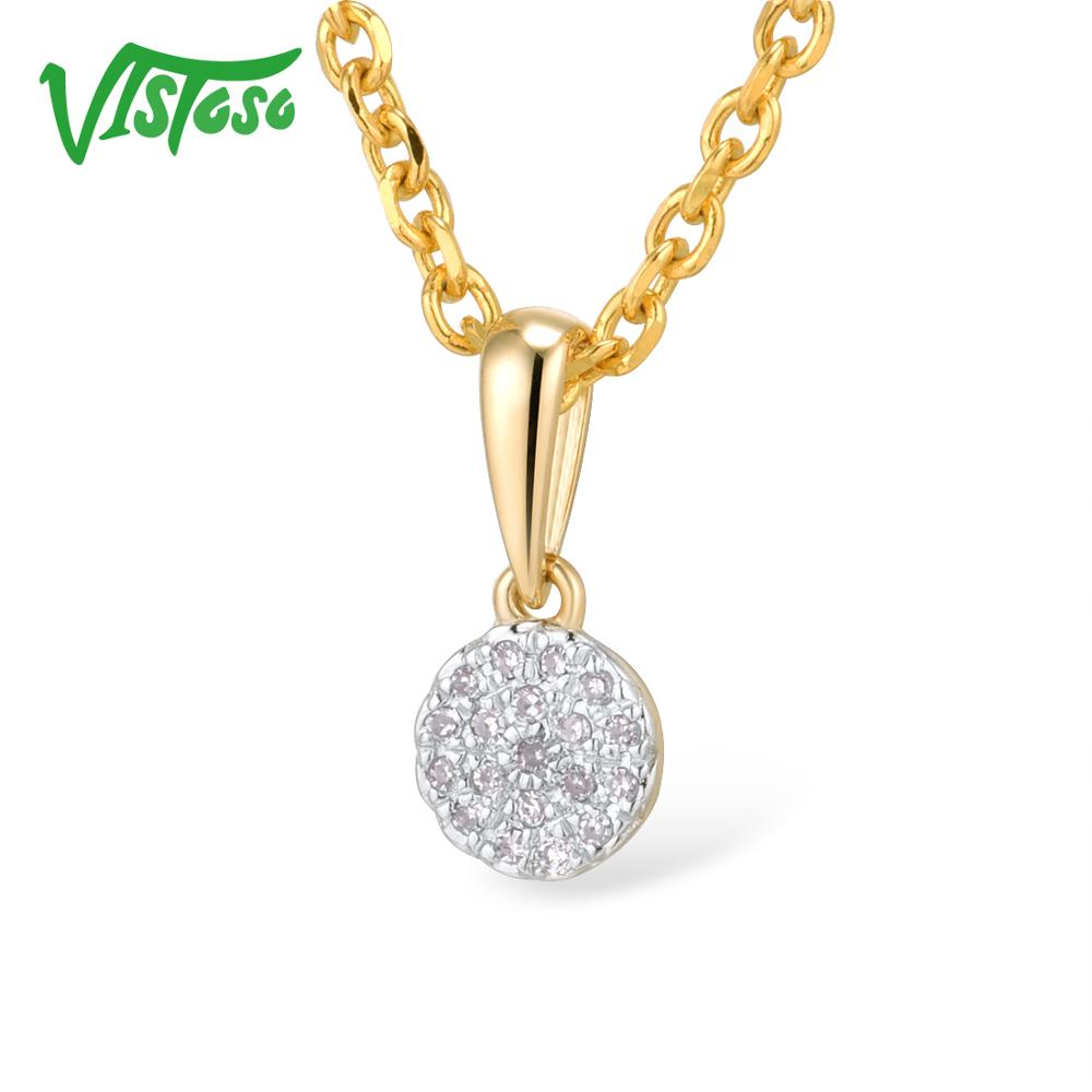 VISTOSO Gold Pendants For Women Authentic 14K 585 Yellow Gold Small Round Circle Sparkling Diamond Necklace