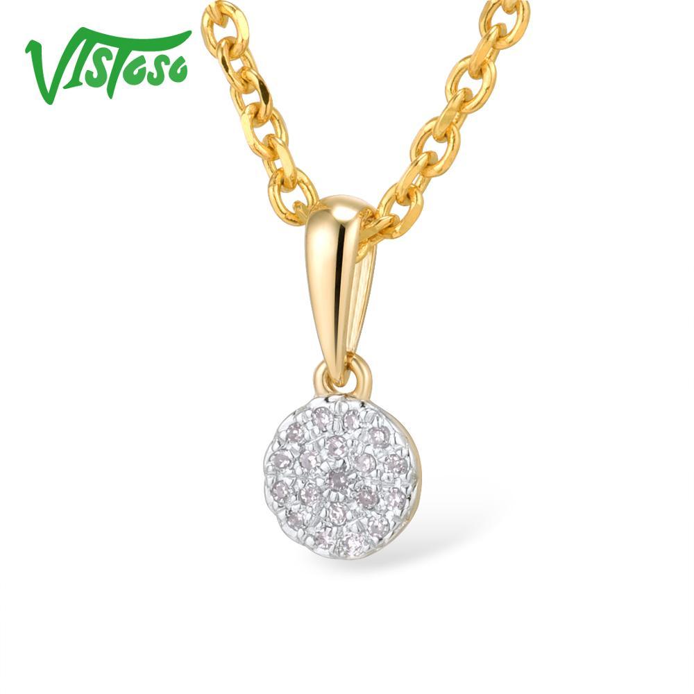 VISTOSO Gold Pendants For Women Authentic 14K 585 Yellow Gold Small Round Circle Sparkling Diamond Necklace Pendant Fine Jewelry