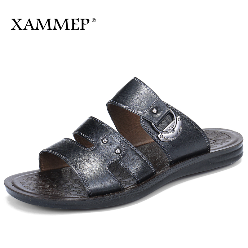 Xammep Summer Men Sandals Split Leather Men Beach Sandals Brand Men Casual Shoes Flip Flops Thong Sneakers Plus Big Size