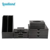 5pcs Office Desk Set Includes Paper Tray Staionery Organizer Storage Box Tissue Case Desktop Ashtray T24H