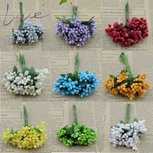 Cheap 12pcs Artificial Bud Stamen Berry Bacca Flower For Wedding Decoration DIY Scrapbooking Decorative Artificial flowers