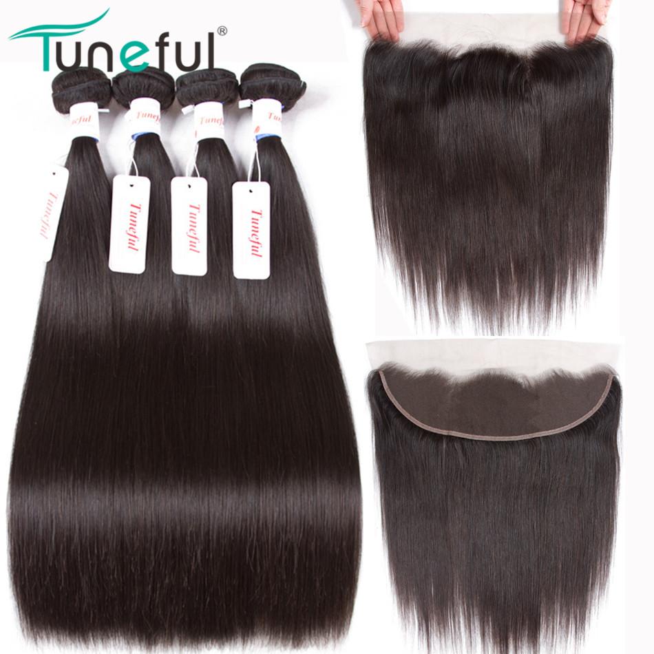 Malaysisk Straight Human Hair 4 Bundler Med Frontal Closure Tuneful - Menneskehår (sort)