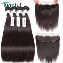 Malaizijos tiesus žmogaus plaukai 4 paketai su priekine uždanga Tuneful 100% Remy plaukų atauga 13x4 nėriniai priekinės uždarymo su ryšuliais