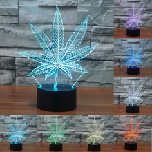 Acrylic Maple Leaf 3D Night Light 7 Colors change USB Lamp Crystal Touch sensor  Nightlight Leaf Shaped for Home Decor IY803610