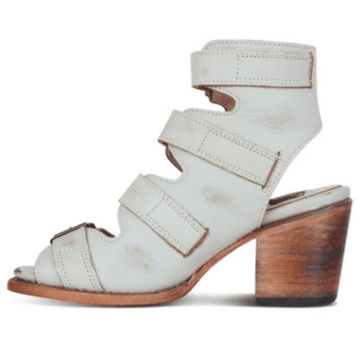 Vendimia Altos Peep Tacones Mujer Toe Botas Chunky Zapatos Boutique Feminino Sapato Beige Mujeres Ta0135 De Botines Bombas Xz0qUX
