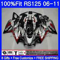 Injection For Aprilia RS125 06 07 08 09 10 11 RS-125 119HM.0 RSV125 RS4 RS 125 2006 2007 2008 2009 2010 2011 Fairing Red silvery
