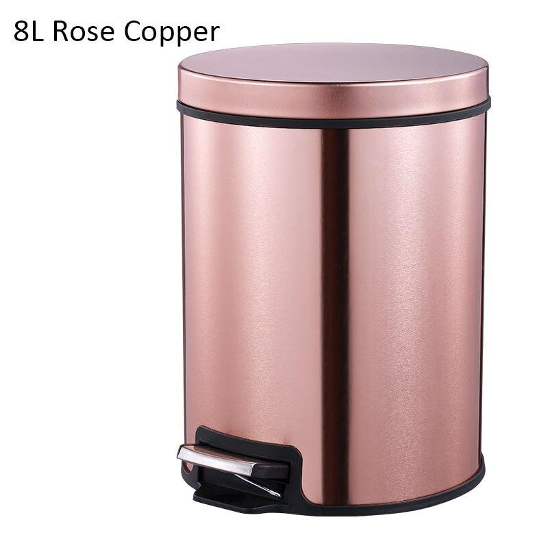 MR. BIN Макарон плюс мусорный бак с 5L/8L/12L ёмкость красочные педаль отходов Bin металлическая мусорная корзина для дома и кухня - Цвет: 8L Rose Copper