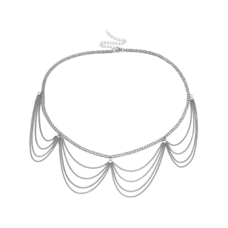Женский модный пояс, высокая талия, Золотая узкая металлическая цепочка, массивная бахрома - Цвет: style 3 sliver
