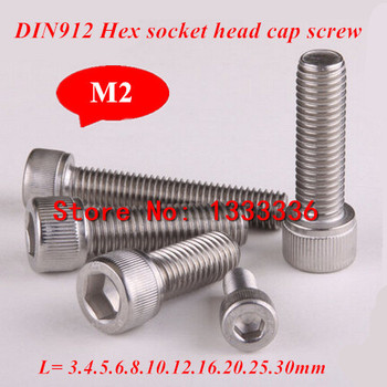 100pcs M2 Stainless steel 304 Screws DIN912 Hex Socket Head Cap Screw M2*3/4/5/6/8/10/-/30mm Hexagon cylinder cup Bolts image