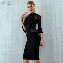 Adyce New Autumn Black Lace Bandage Dress Women Vestidos Sexy Flare Sleeve Mesh Club Dress Elegant Celebrity Evening Party Dress