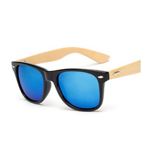 Unisex blue bamboo square/driving men/women sunglasses vintage wood mens/womens
